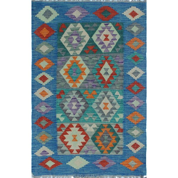 Corda Kilim Hand Woven 100% Wool Blue Southwestern Area Rug by Bungalow Rose